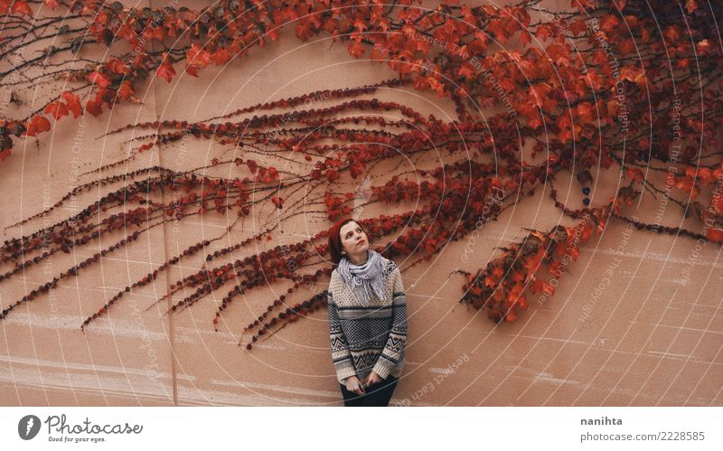 Young woman posing with a red ivy Human being Nature Youth (Young adults) Plant Beautiful Red Far-off places 18 - 30 years Adults Environment Lifestyle Autumn