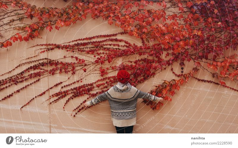 Back view of a woman and a wall with a red ivy Woman Human being Nature Youth (Young adults) Plant Red Leaf Calm Winter 18 - 30 years Adults Environment Autumn