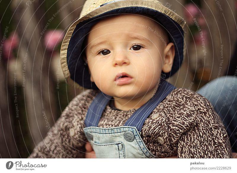 little farmerboy Child Human being Beautiful Face Autumn Boy (child) Brown Infancy Baby Cute Safety Trust Kindergarten Farmer 0 - 12 months