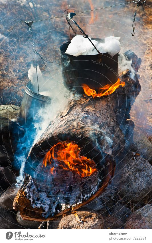 Preparation of meal on a fire Vacation & Travel Safari Expedition Winter Snow Nature Ice Frost Tree Bucket coals halt Heat Kettle log prepare Rest warmly water