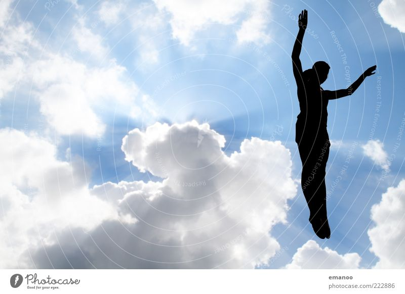 Silhouette 6 Lifestyle Leisure and hobbies Sports Fitness Sports Training Sportsperson Human being Body 1 Sky Clouds Sun Beautiful weather Movement Flying Jump