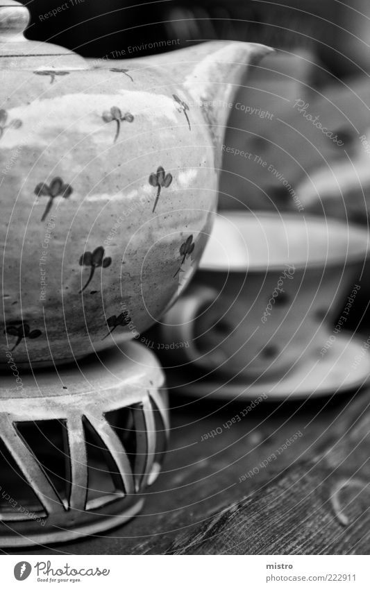 jug Hot drink Coffee Crockery Cup Summer Black White Black & white photo Exterior shot Pattern Copy Space right Day Reflection Sunlight Blur Teapot Tea cup