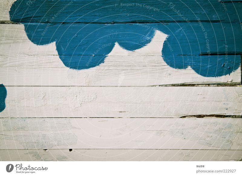 Blue Cloud Art Painting and drawing (object) Sky Clouds Weather Wood Graffiti Old Happiness White Wall (building) Wooden wall Drawing Wood strip Wooden fence