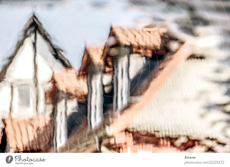 hazy memory Water Small Town Old town House (Residential Structure) Marketplace Half-timbered house Half-timbered facade Old building Roof Gable Street
