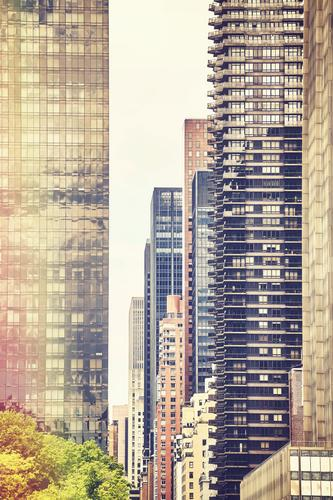 Retro stylized picture of New York buildings. Living or residing Flat (apartment) House (Residential Structure) Dream house House building Workplace Office Town
