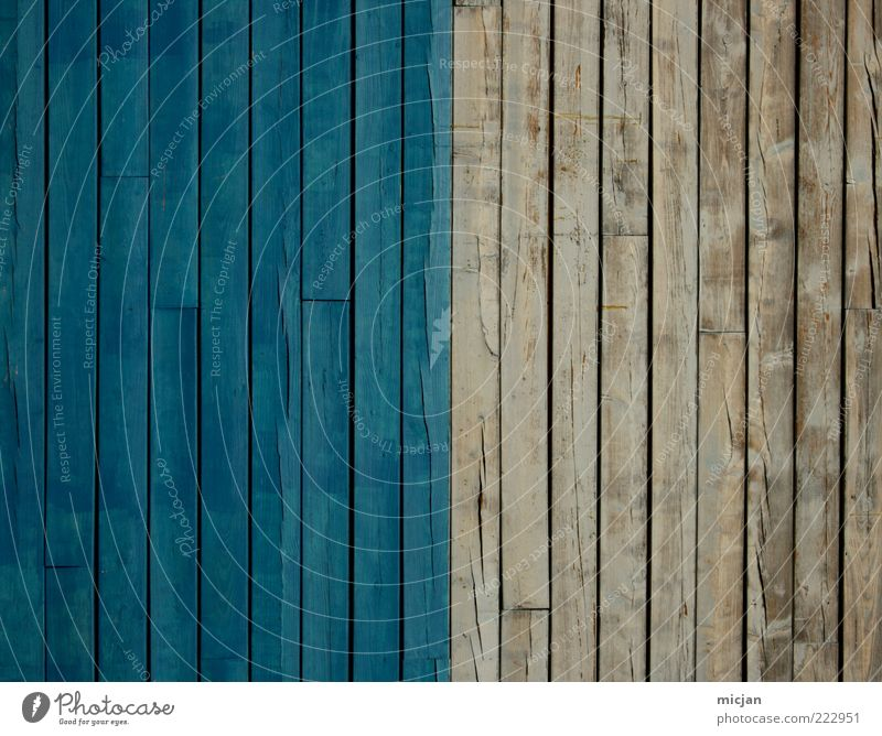 Blue Old Colour Wood Gray Background picture Facade Gloomy Simple Fence Border Wooden board Half Symmetry Converse Wooden wall