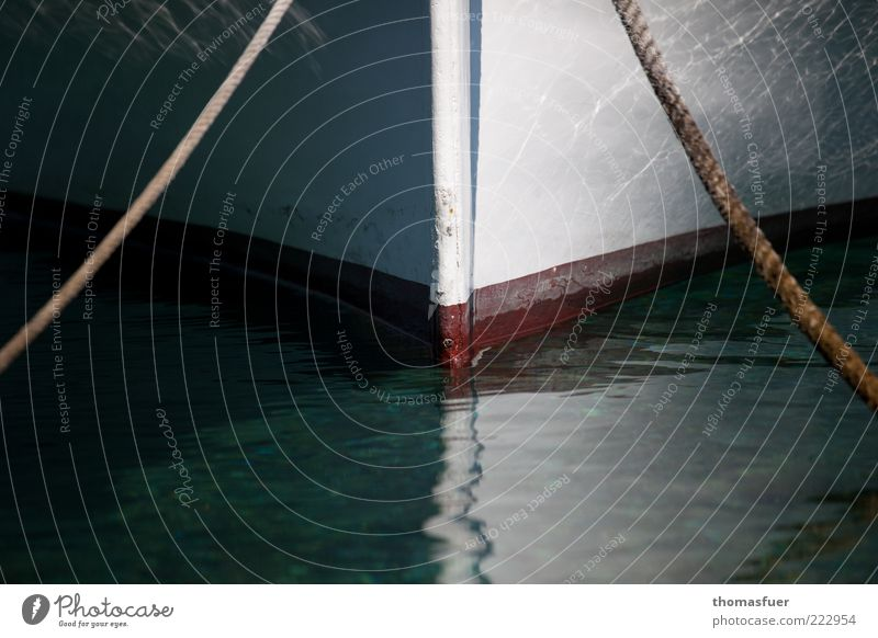 Water Summer Ocean Calm Contentment Rope Perspective Romance Beautiful weather Watercraft Bow Float in the water Rowboat Detail Surface of water Fishing boat