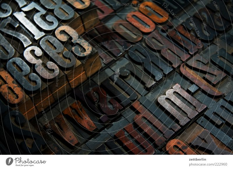 Wood Signs and labeling Characters Digits and numbers Letters (alphabet) Write Sign Media Historic Typography Nostalgia Print media Text Inspiration Literature Print shop