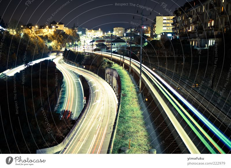 Night Lights City Street Architecture Lanes & trails Car Railroad Europe Driving Manmade structures Logistics Switzerland Railroad tracks Highway Vehicle Environmental pollution Road junction