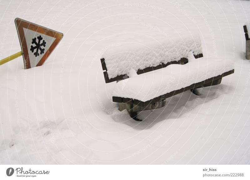Watch your step! Bank robbery. Bench Snow Snow layer Warning sign Winter Warning label Park bench White Topple over Signs and labeling Copy Space bottom