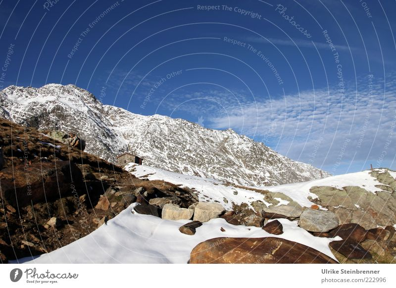 Sky White Blue Clouds Cold Snow Autumn Mountain Stone Rock Tall Alps Peak Hut Austria Nature