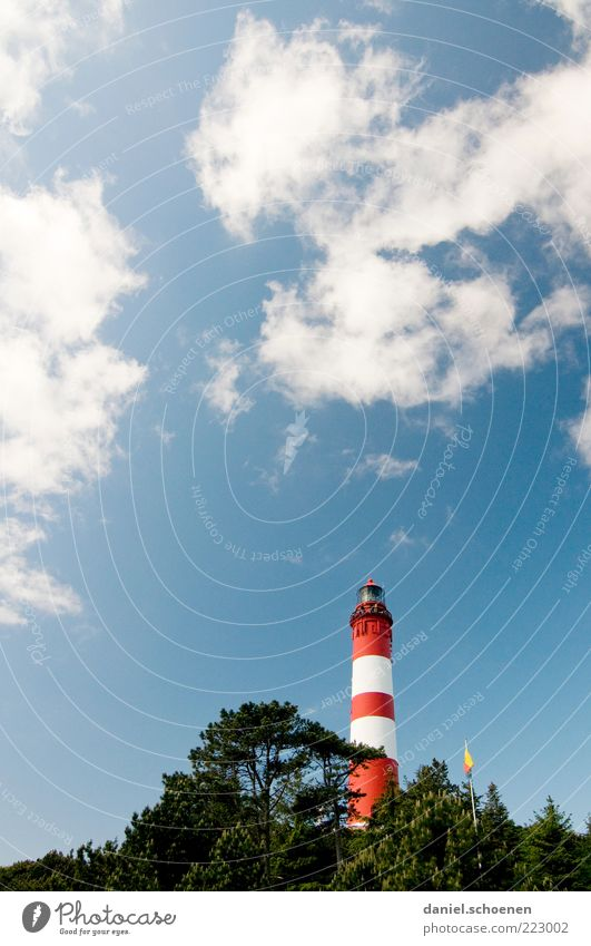 amrum Vacation & Travel Summer Island Sky Clouds Weather Beautiful weather Lighthouse Blue Red White Amrum North Sea Ocean Copy Space top Day Worm's-eye view