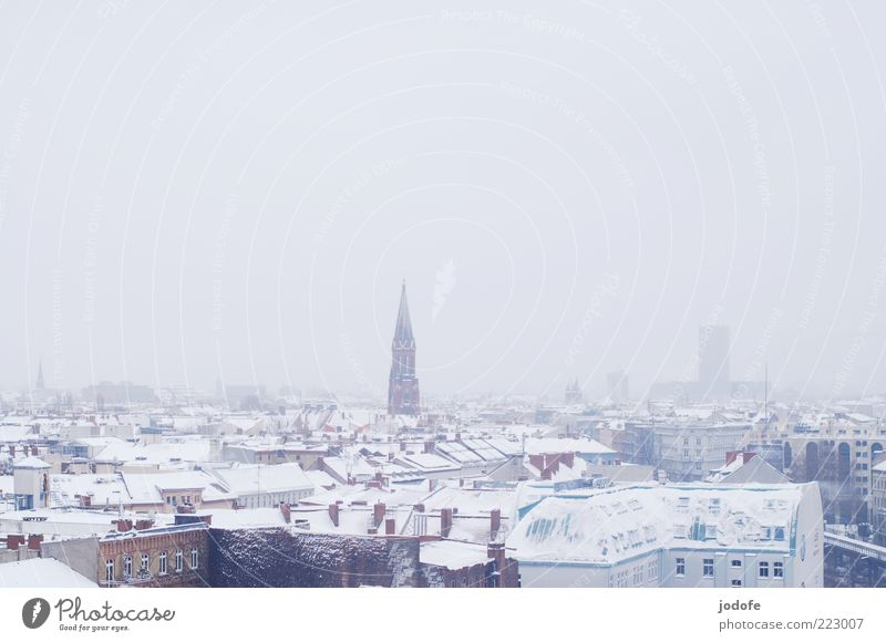 SKYLINE II Small Town Skyline House (Residential Structure) Church White Snow Winter Roof Bird's-eye view Fog Idyll Calm Cold Colour photo Subdued colour