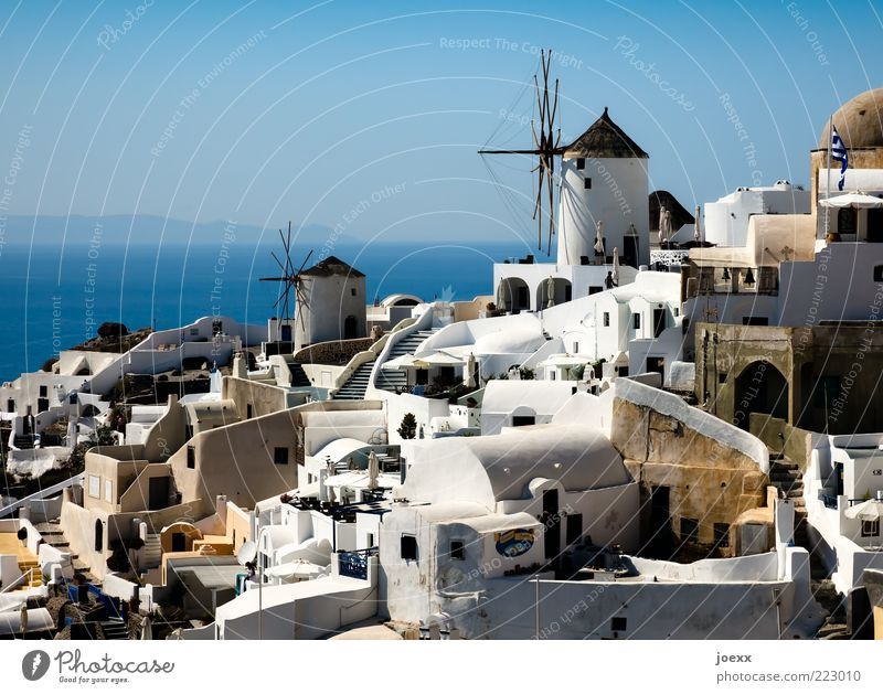 Water White Summer Vacation & Travel Ocean House (Residential Structure) Lanes & trails Coast Island Travel photography Village Greece Europe Tourist Attraction Beautiful weather Cyclades