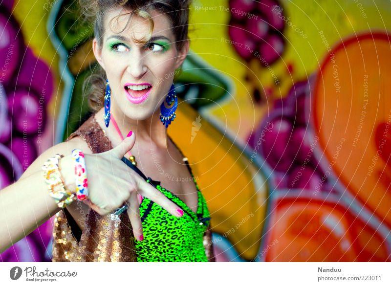 Woman Human being Feminine Graffiti Adults Crazy Cool (slang) Retro Posture Top Indicate Gesture Earring Bangle Neon 30 - 45 years