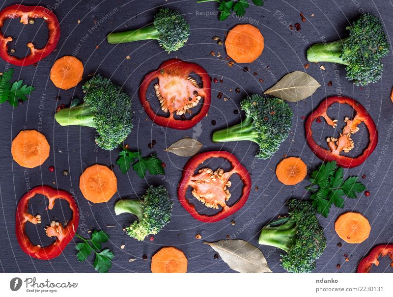 pieces of fresh vegetables Nature Colour Green Red Leaf Black Natural Herbs and spices Vegetable Mature Vegetarian diet Top Vitamin Carrot Vegan diet Raw