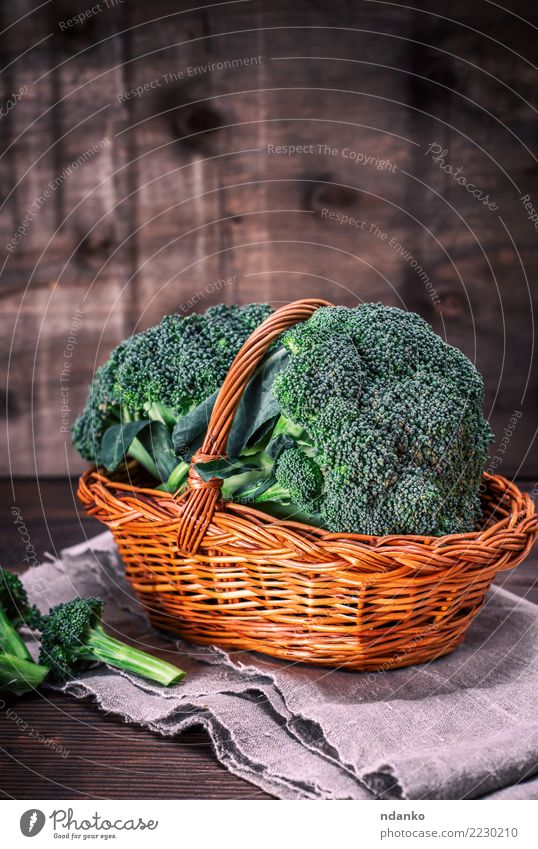 fresh broccoli Vegetable Nutrition Eating Vegetarian diet Diet Table Nature Plant Wood Fresh Natural Brown Green Rustic Ingredients Cooking dieting background
