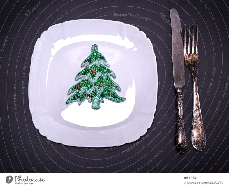 white square plate Breakfast Lunch Dinner Plate Knives Fork Table Restaurant Christmas & Advent New Year's Eve Toys Clean Black White Dish empty background Meal