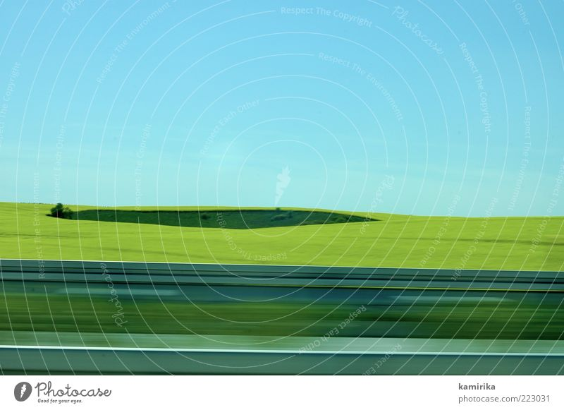 island and the yellow sea Landscape Air Sky Cloudless sky Horizon Spring Summer Beautiful weather Field Traffic infrastructure Road traffic Motoring Street