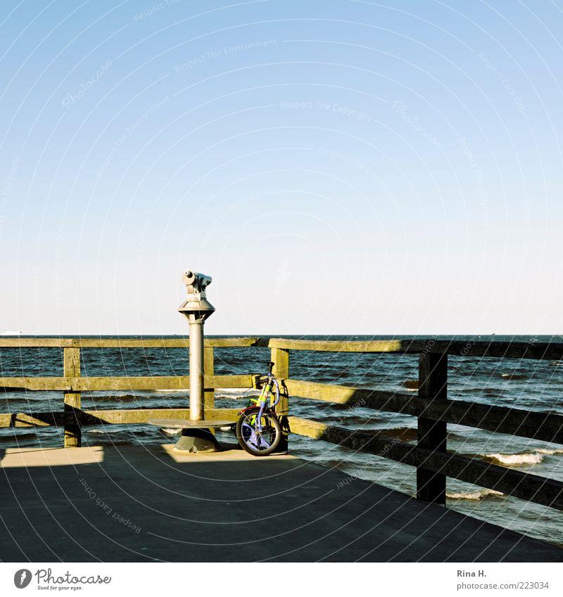 Sky Nature Blue Water Green Ocean Summer Environment Landscape Waves Vantage point Baltic Sea Parking Binoculars Telescope Kiddy bike