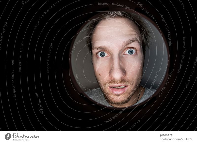 Youth (Young adults) Emotions Funny Blonde Adults Masculine Circle Round Observe Curiosity Facial hair Hollow Whimsical Timidity Fisheye Man