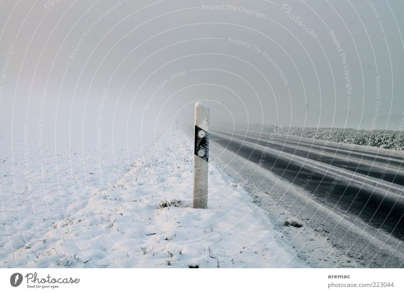 Cold and foggy Environment Winter Weather Bad weather Fog Ice Frost Snow Traffic infrastructure Road traffic Street Calm Target Colour photo Exterior shot