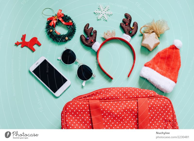 Holiday concept, Flat lay of Christmas ornaments Style Joy Make-up Decoration Feasts & Celebrations Christmas & Advent Telephone PDA Technology Feminine Woman