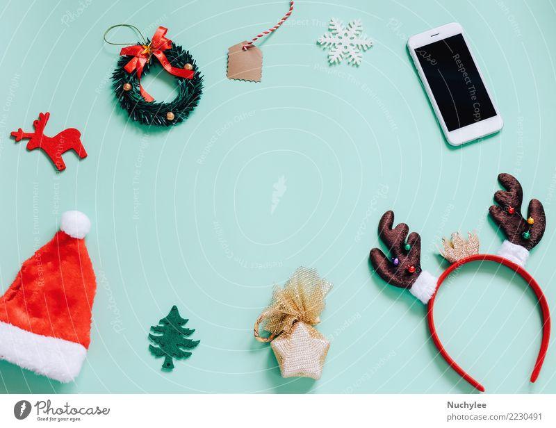Flat lay of Christmas ornaments Lifestyle Style Design Joy Decoration Feasts & Celebrations Christmas & Advent Telephone PDA Technology Woman Adults Fashion