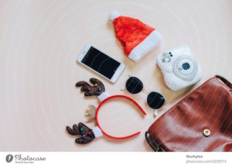 Fashion christmas concept Lifestyle Style Design Joy Decoration Feasts & Celebrations Christmas & Advent Telephone PDA Camera Technology Feminine Woman Adults