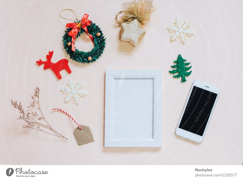 Mockup of photo frame with christmas ornaments Nature Christmas & Advent Colour Beautiful White Yellow Lifestyle Style Fashion Feasts & Celebrations Design