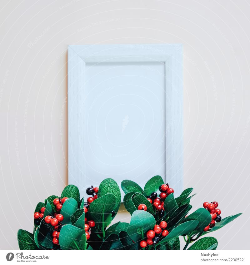 Mockup of blank photo frame with green plant Lifestyle Style Design Beautiful Decoration Nature Plant Leaf Fashion Ornament Simple Bright Modern Retro Clean