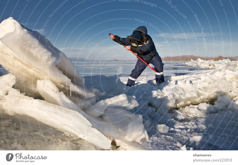 Crack in an ice of Baikal Vacation & Travel Expedition Winter Snow Man Adults Environment Landscape Sky Ice Frost Lake Blue Risk Buryatiya Siberia