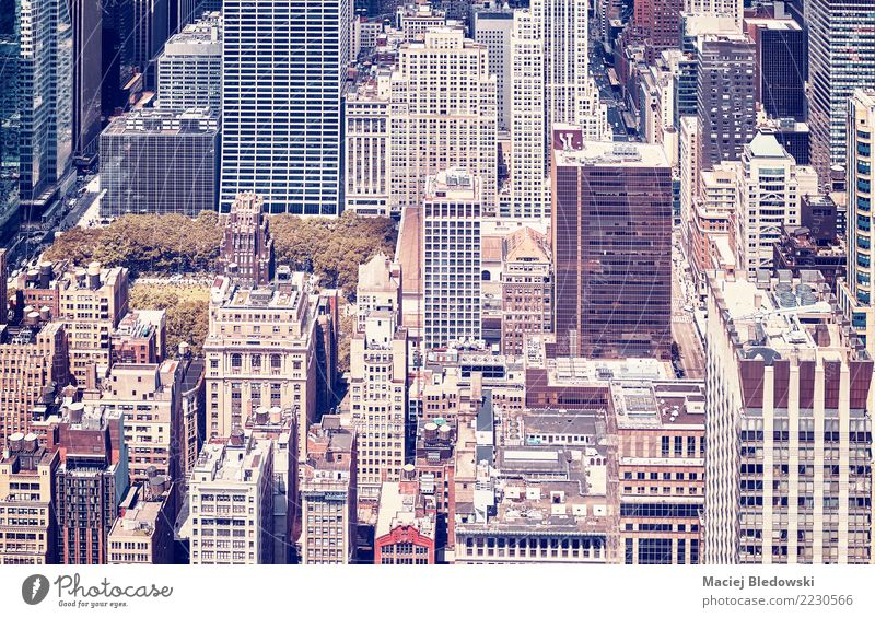 Vintage toned picture of New York City Manhattan. Living or residing Flat (apartment) Park Town Downtown House (Residential Structure) High-rise Building