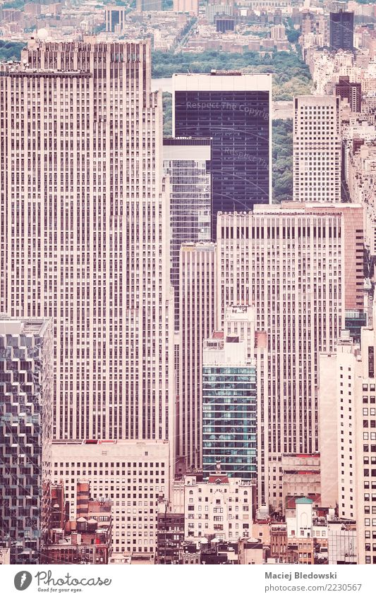 Retro stylized picture of New York City buildings. Living or residing Flat (apartment) House (Residential Structure) House building Workplace Office Downtown