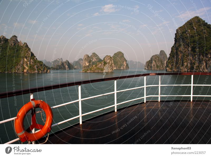 Panorama of Halong Bay Far-off places Freedom Cruise Ocean Island Waves Vietnam Asia Landscape Water Sky Horizon Summer Beautiful weather Hill Mountain