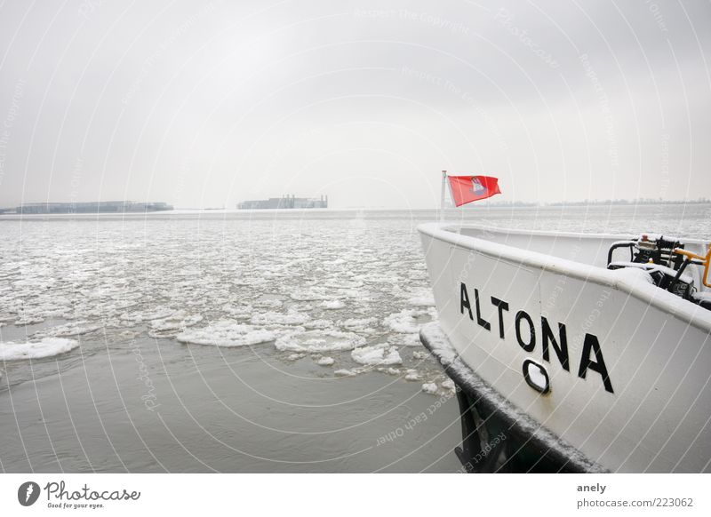 Water Winter Calm Loneliness Far-off places Relaxation Snow Freedom Landscape Environment Watercraft Ice Contentment Hamburg Frost River