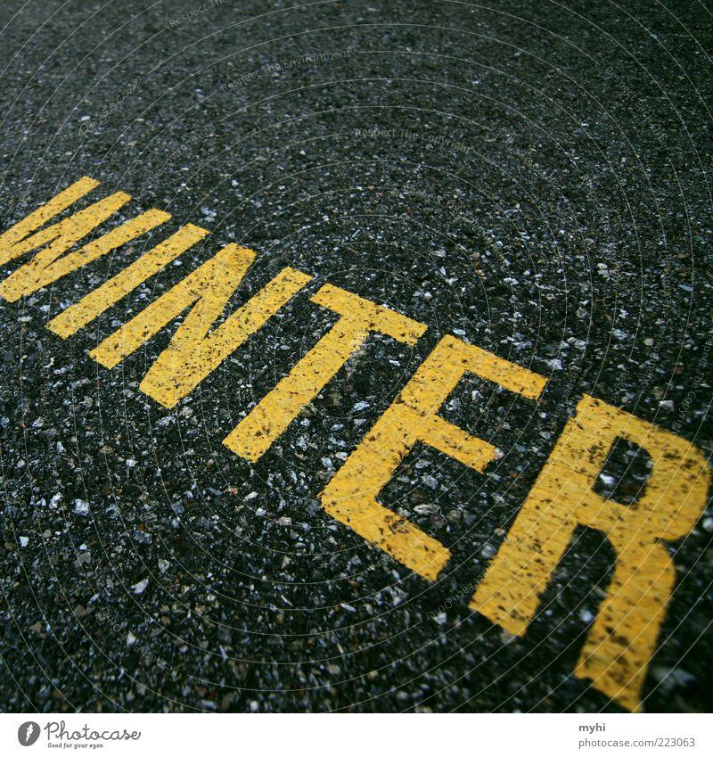 Winter Black Yellow Cold Stone Characters Ground Floor covering Asphalt Tar Winterthur Switzerland Lane markings