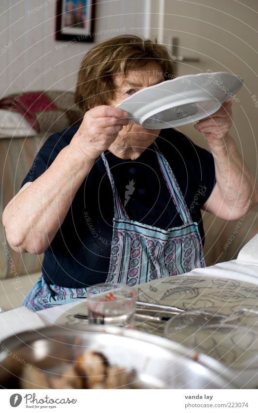 Human being Woman Old Nutrition Senior citizen Food Eating Table Drinking Cleaning Grandmother 60 years and older Furniture Plate Female senior Dinner
