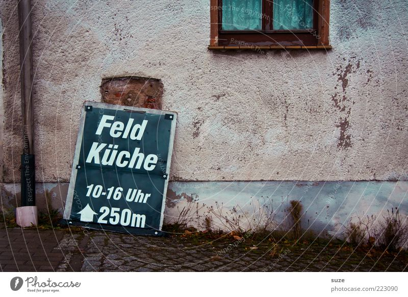 Mittach Fast food Facade Window Signs and labeling Old Simple Snack bar Midday Wall (building) Typography Provision Colour photo Multicoloured Exterior shot