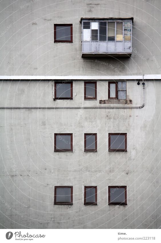 House (Residential Structure) Wall (building) Window Gray Wall (barrier) Architecture Facade Concrete Arrangement Safety Cable Roof Balcony Pipe Hollow