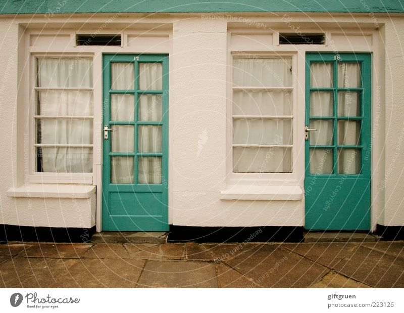 White House (Residential Structure) Wall (building) Window Wall (barrier) Door Facade In pairs Living or residing Clean Turquoise Entrance Manmade structures