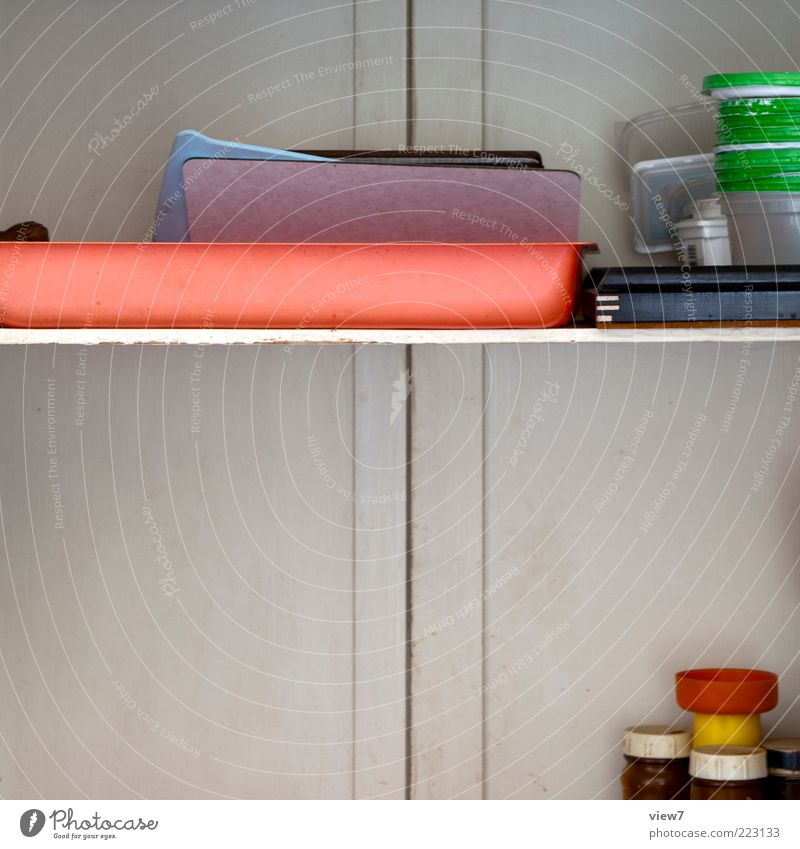 Old Line Arrangement Kitchen Authentic Simple Plastic Crockery Chopping board Partially visible Section of image Shelves Multicoloured Odds and ends Kitchen equipment