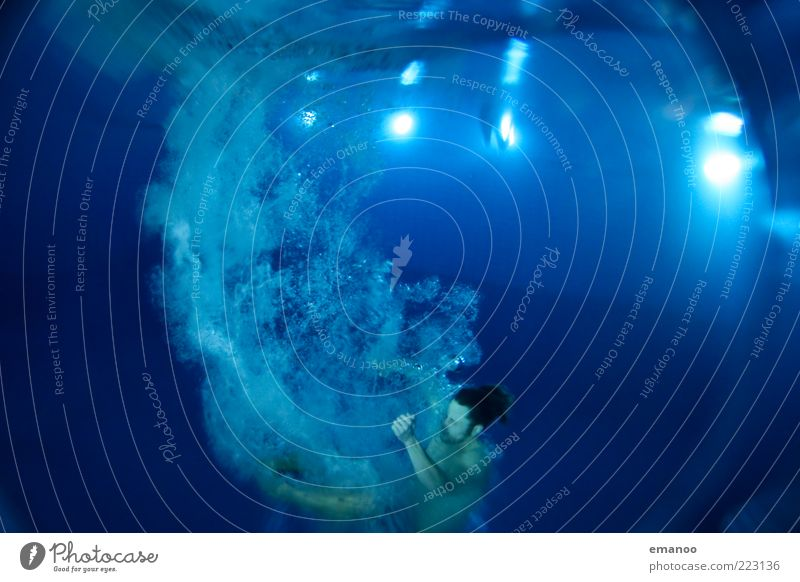 Human being Blue Water Adults Sports Movement Jump Wet Swimming & Bathing Swimming pool 18 - 30 years Dive Athletic Rotate Deep Air bubble