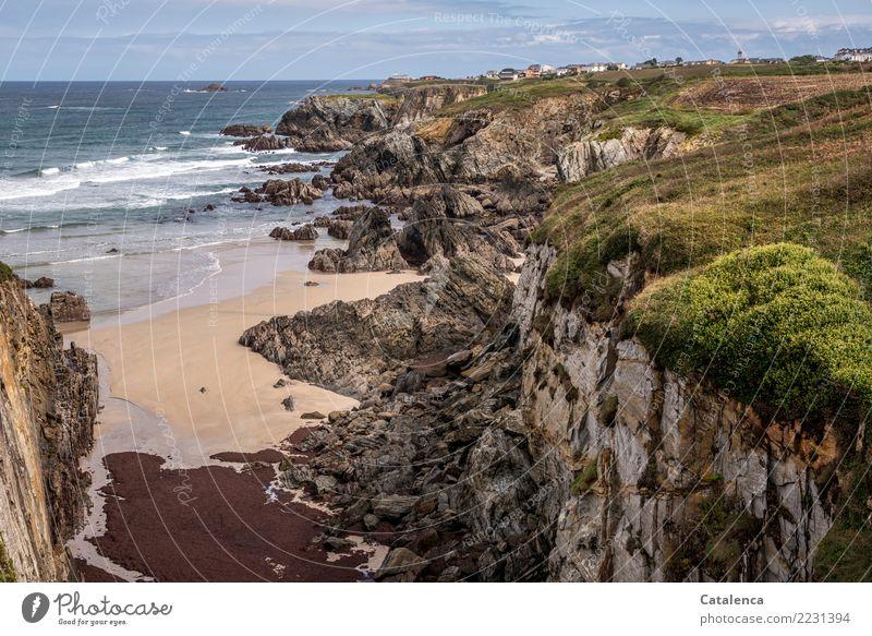 Summer Blue Green Water Landscape Ocean Red Beach Coast Grass Brown Moody Rock Hiking Horizon Waves