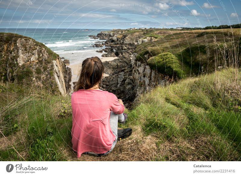 Human being Sky Blue Summer Beautiful Green Water Landscape Calm Beach Life Coast Feminine Grass Pink Moody