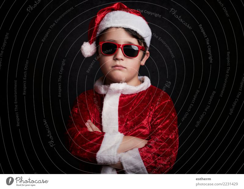 funny boy with sunglasses on christmas Lifestyle Winter Party Event Feasts & Celebrations Christmas & Advent Human being Masculine Child Toddler Infancy 1