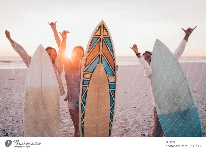 Group of young adult friends cheerful at beach with surfboards Woman Vacation & Travel Youth (Young adults) Summer Relaxation Joy Beach Adults Lifestyle