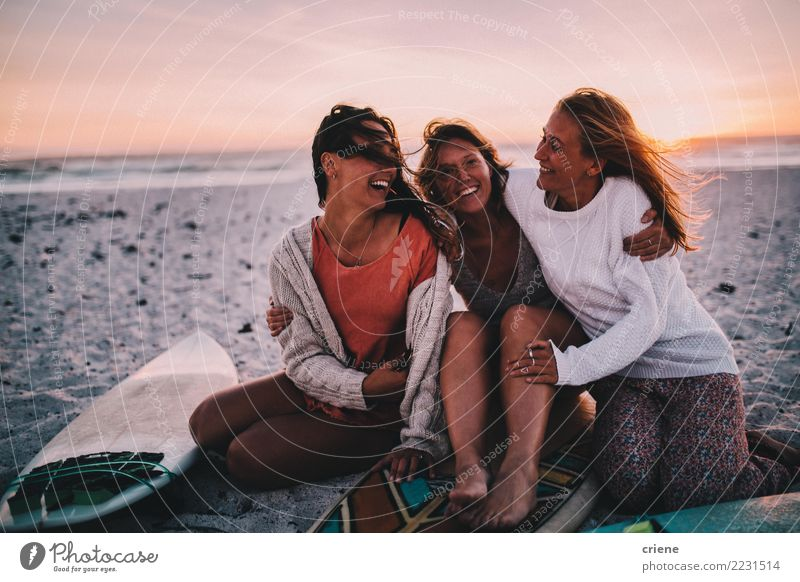 Group of best friends cheerful on the beach in sunset Woman Human being Vacation & Travel Youth (Young adults) Young woman Summer Relaxation Joy Beach Adults
