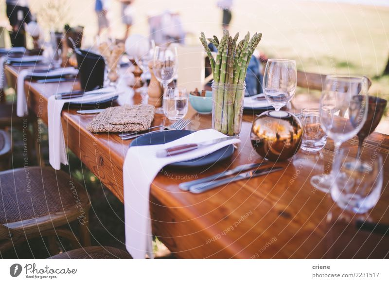 Pretty decorated dinner table at venue in summer Lunch Dinner Buffet Brunch Cutlery Fork Summer Table Restaurant Feasts & Celebrations Wedding Joy Happy party