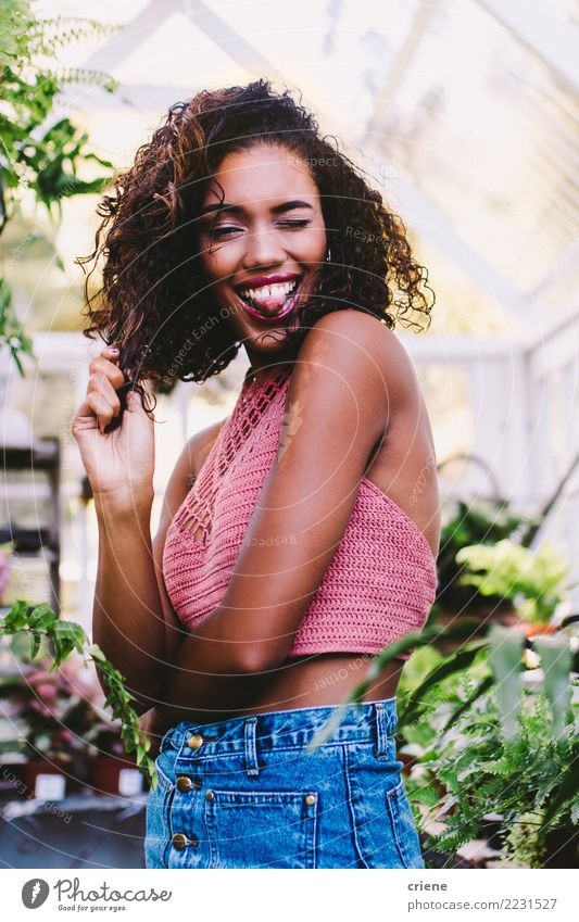 Portrait of young african woman stretching out tongue Woman Human being Youth (Young adults) Young woman Beautiful Joy Adults Lifestyle Funny Feminine Happy